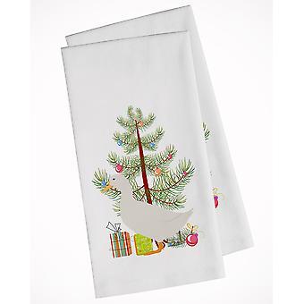 Amerikanische Pekin Ente Weihnachten weiße Küche Handtuch Set von 2