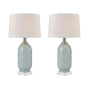 Pale blue, clear crystal la joliette table lamp (set of 2) stein world