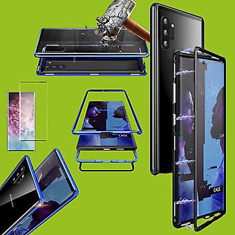Para Samsung Galaxy Note 10 N970F Magnet/metal/caso de vidro preto/transparente + 0.3 mm H9 4D Full curvo temperado vidro duro