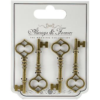 Craft Consortium Always & Forever Metal Key Charms 4/Pkg-Large AFMCHRM2