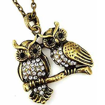 Antique Gold  and  Crystal Double Owl Pendant Necklace Vintage Style