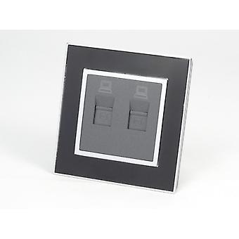 I LumoS AS Luxury Black Mirror Glass Single 2 X Internet Socket