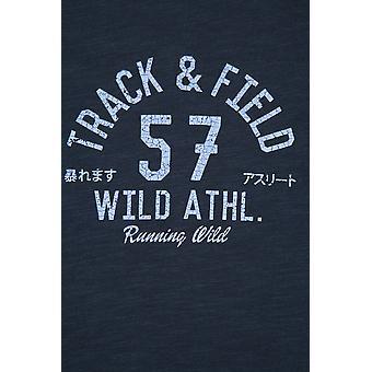 BadRhino Navy 'Track & Field' Logo Chest Print Crew Neck Slub Jersey T-Shirt