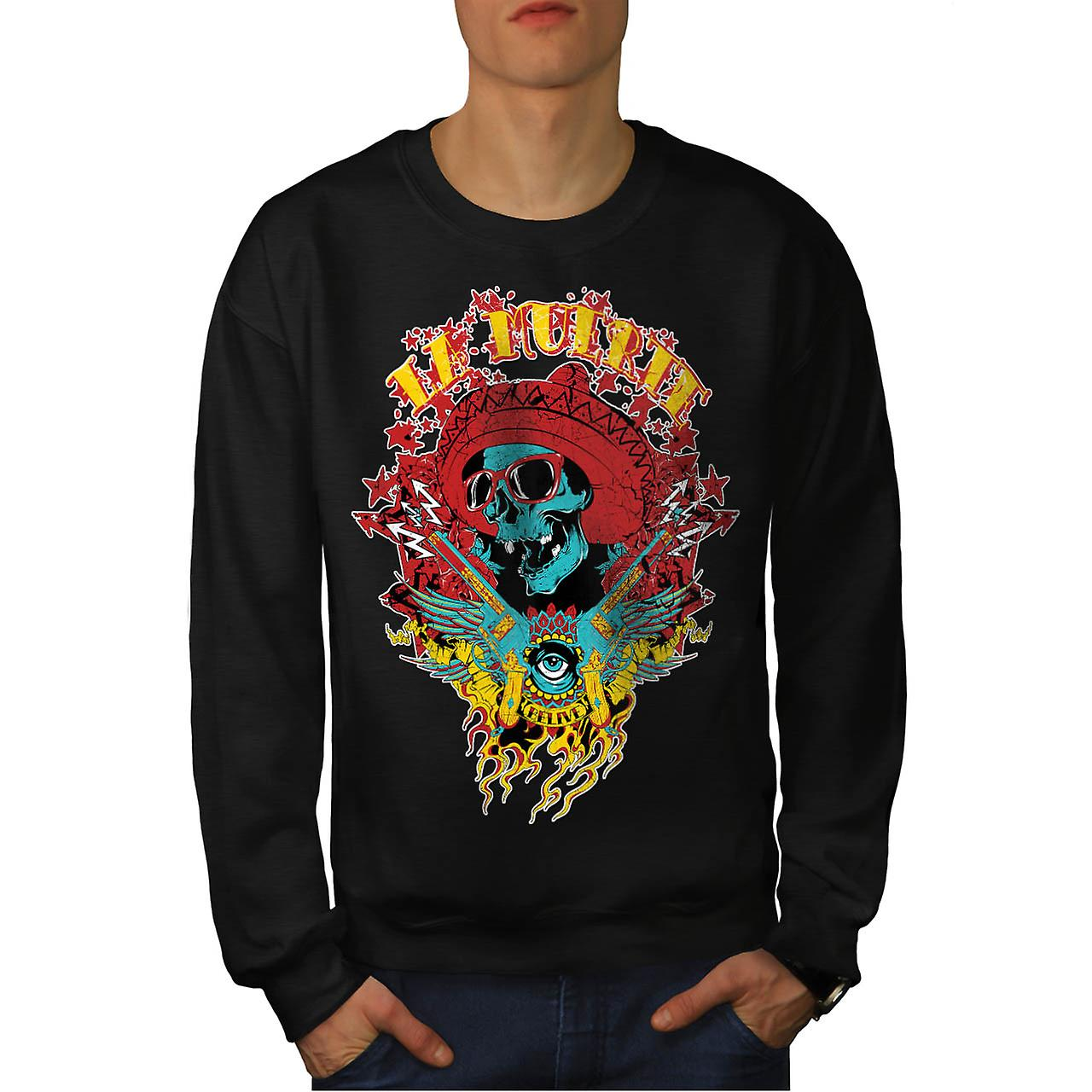 Mexico Skull Gun Life Shade Head Men Black Sweatshirt | Wellcoda