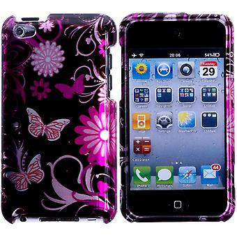 Hard plastic cover with flowers and butterflies-iPod touch 4