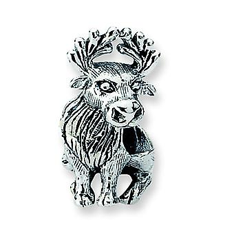Sterling Silver Polished Antique finish Reflections Moose Bead Charm