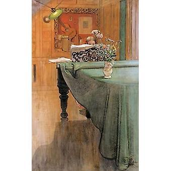 カール ・ ラーションによるグランド ピアノのポスター印刷で若い女の子