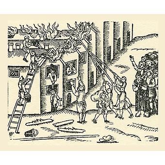 Eine aus dem 16. Jahrhundert Feuerwehr bei der Arbeit aus einem zeitgenössischen print PosterPrint