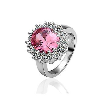 Platinum Plated Pink Flower Ring