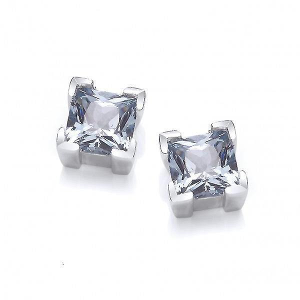 Cavendish French Sterling Silver and Crystal Square Earrings