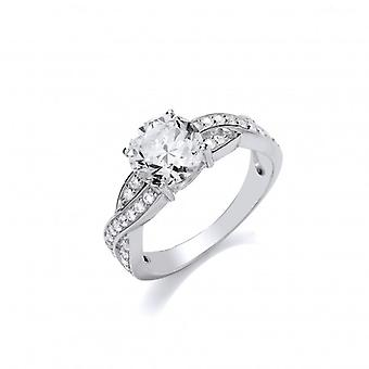 Cavendish French Silver and CZ Solitaire Twist Ring