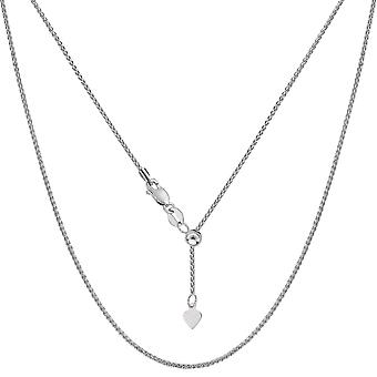 14k White Gold Adjustable Wheat Chain Necklace, 1.0mm, 22