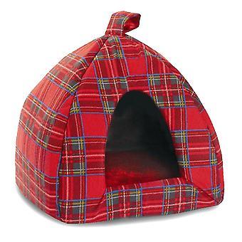 Tartan Igloo Bed Red 41cm (16