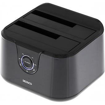 DELTACO USB 3.0 docking station with cloning, 2 x 2,5/3,5