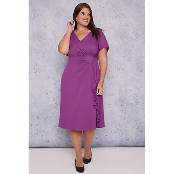 SCARLETT & JO Purple Wrap Dress With Angel Sleeves
