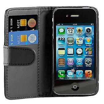 Bogen læder tilfælde dække For Apple iPhone 4 4S + Screen Protector, rengøringsklud og Touch Stylus - sort