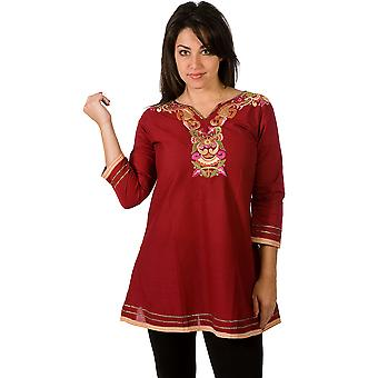Kurti algodón / túnica con escote bordado trabajo