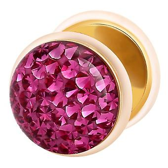 Fake Cheater Ear Plug Gold Plated, Earring, Body Jewellery, with Multi Crystal Fuchsia
