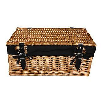 Large Wicker Black Cotton Lined Hamper