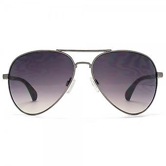 SUUNA Phoenix Teardrop Aviator Sunglasses In Shiny Gunmetal