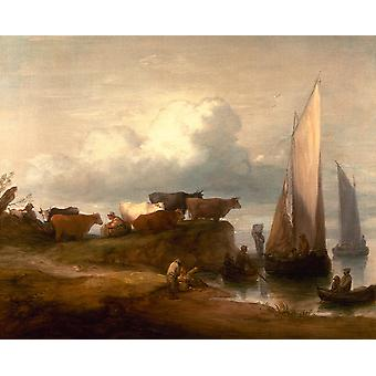 Thomas Gainsborough - A Coastal Landscape 1784 Poster Print Giclee
