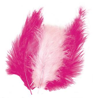 15 Mixed Pink Fluffy Craft Feathers | Scrapbooking Card Making Embellishments