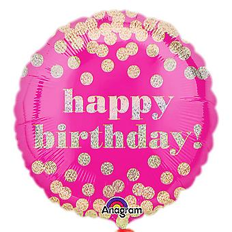 Anagram 18 Inch Birthday Dotty Holographic Circle Foil Balloon