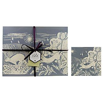 English Tableware Co. Artisan Grey Hare Placemats and Coasters, Set of 4