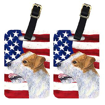 Pair of USA American Flag with Jack Russell Terrier Luggage Tags