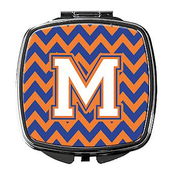 Letter M Chevron Blue and Orange #3 Compact Mirror
