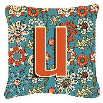 Буква U цветы ретро синий холст ткани декоративные подушки
