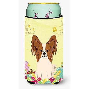 Easter Eggs Papillon Red White Tall Boy Beverage Insulator Hugger