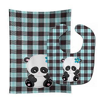 Carolines Treasures  BB6800STBU Panda on Plaid Baby Bib & Burp Cloth