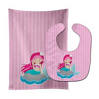 Carolines Treasures  BB8832STBU Beach Mermaid Pink Hair #3 Baby Bib & Burp Cloth