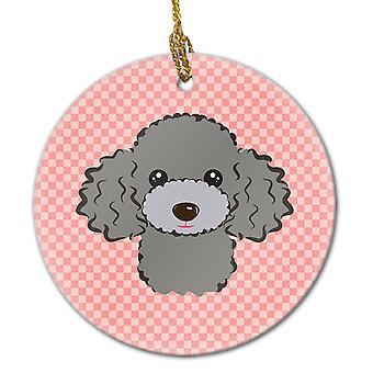 Checkerboard Pink Silver Gray Poodle Ceramic Ornament