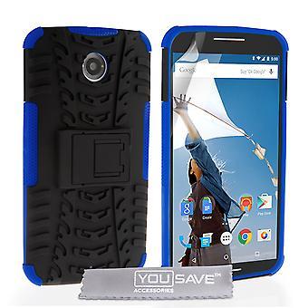 Google Nexus 6 Stand Combo Case - Blue-Black