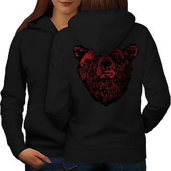 Red Bear Face Wild Animal Women BlackHoodie Back | Wellcoda
