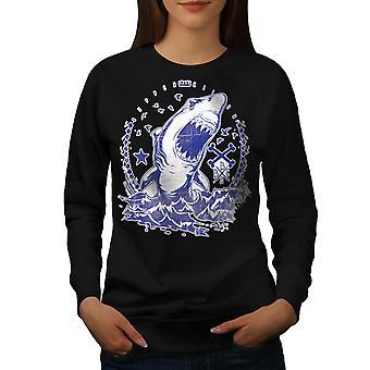 Killer Shark Kunst Frauen BlackSweatshirt | Wellcoda