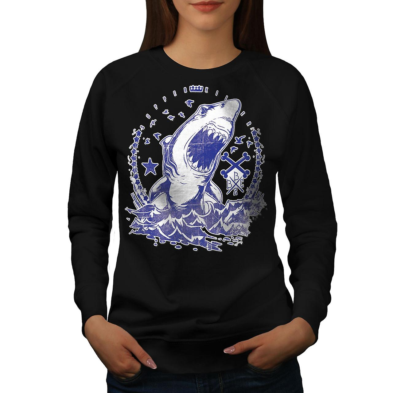 Killer Shark kunst Vintage kvinner BlackSweatshirt   Wellcoda