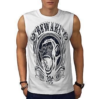 Vorsicht Affen Vintage Men WhiteSleeveless T-shirt | Wellcoda