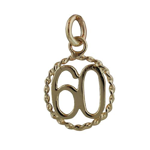 9ct Gold 16mm number 60 in twisted wire circle Pendant or Charm