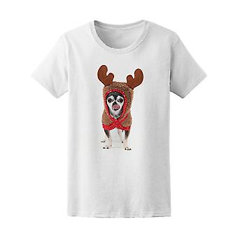 Chihuahua In Reindeer Costume Tee Women's -Image by Shutterstock