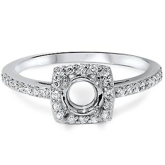 1/3ct Diamond Halo 14K White Gold Engagement Ring Setting