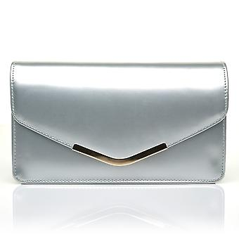 LUCKY Silver Metallic Medium Size Clutch Bag