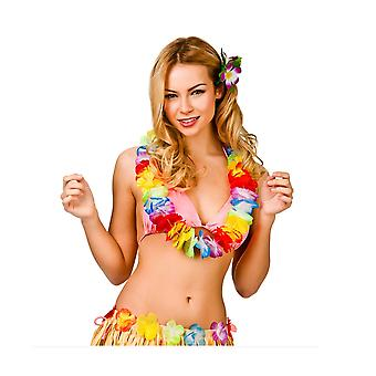 Adult Hawaiian Multicoloured Flowered Garland Lei Fancy Dress Accessory