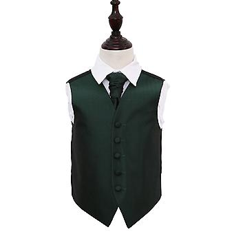 Dark Green Greek Key Wedding Waistcoat & Cravat Set for Boys