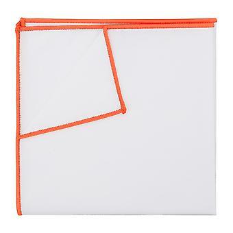 Bianco cotone fazzoletto da taschino con Trim arancione mandarino