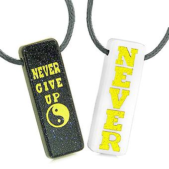 Never Give Up Amulets Love Couples Best Friends Yin Yang Blue Goldstone White Quartz Tag Necklaces