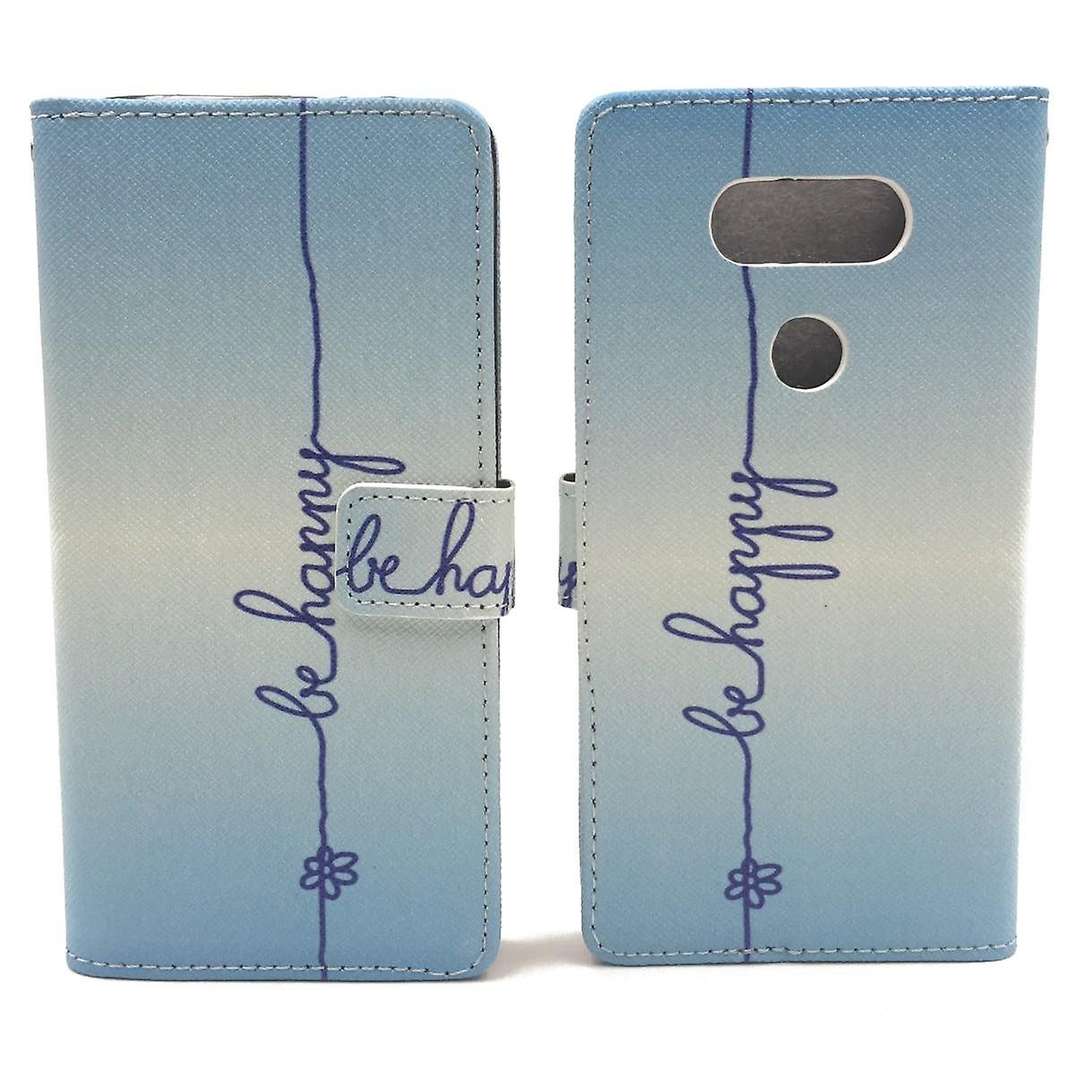 Cell phone cover case for cell phone LG G5 lettering be happy blue