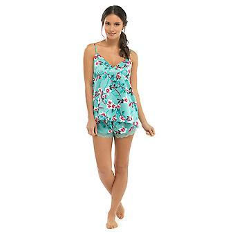 Damen Floral Cami Strappy Spitze Lace Trim Shorts Sommer Pyjama Pyjama Nachtwäsche